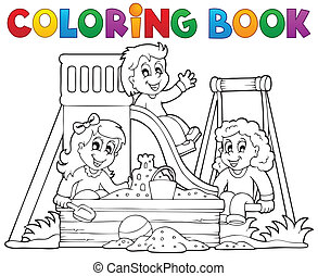 Coloring book playground theme 1 - eps10 vector...