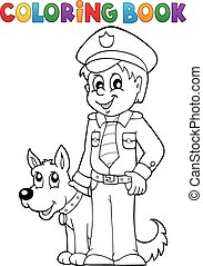 Coloring book policeman with guard dog - eps10 vector illustration.