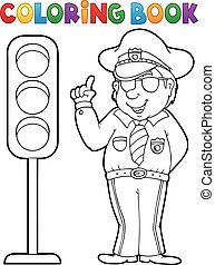 Coloring book policeman with semaphore - eps10 vector...
