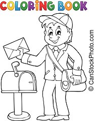 Coloring book postman topic 1