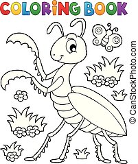 Coloring book praying mantis theme 1 - eps10 vector...