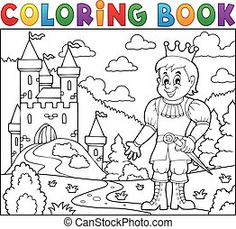 Coloring book prince near castle