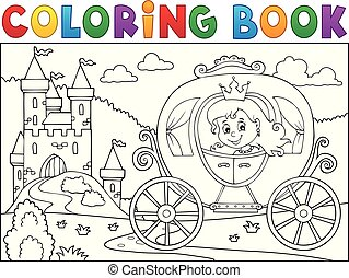 Coloring book princess carriage theme 2