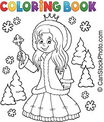Coloring book princess in winter clothes