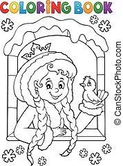 Coloring book princess in winter window