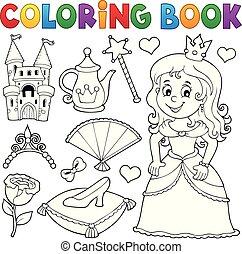 Coloring book princess topic set 1