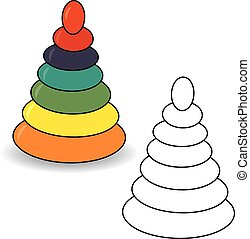 Coloring book. Pyramid toy