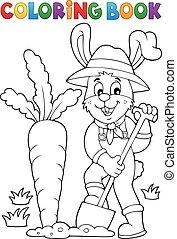 Coloring book rabbit gardener theme 1 - Coloring book rabbit...