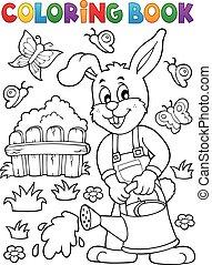 Coloring book rabbit gardener illustration.