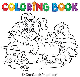 Coloring book rabbit theme 4 - eps10 vector illustration.