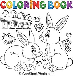 Coloring book rabbit topic 1