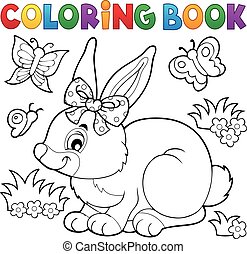 Coloring book rabbit topic 3