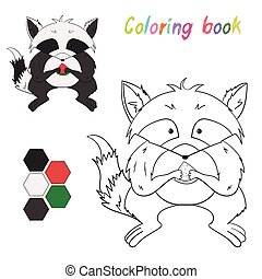 Coloring book raccoon kids layout for game