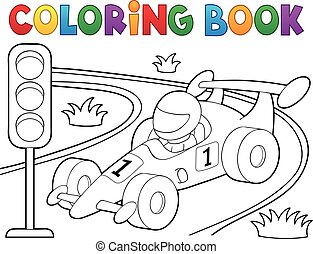 Coloring book racing car theme 1 - eps10 vector...