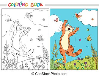 Coloring book. Red cat jumping over the butterflies in the grass and flowers on background of blue sky and white clouds.