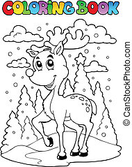 Coloring book reindeer theme 1