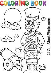 Coloring book retro soldier - eps10 vector illustration.
