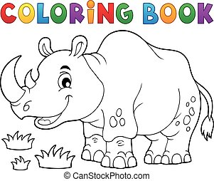 Coloring book rhino theme image 1 - eps10 vector...