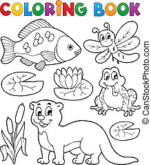 Coloring book river fauna image 1 - vector illustration.