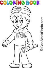 Coloring book sailor with telescope