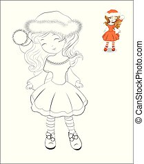 coloring book Santa Claus girl