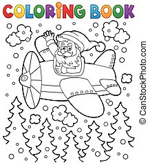 Coloring book Santa Claus in plane - eps10 vector...