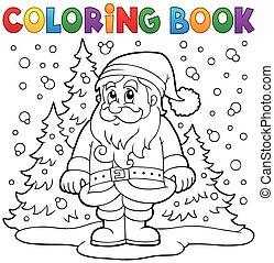 Coloring book Santa Claus in snow 3