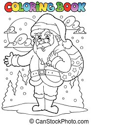 Coloring book Santa Claus theme 1 - vector illustration.