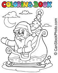 Coloring book Santa Claus theme 8 - vector illustration.