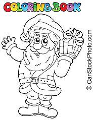 Coloring book Santa Claus topic 1 - vector illustration.