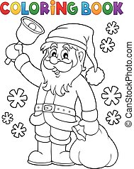 Coloring book Santa Claus with bell