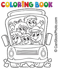 Coloring book school bus theme 1