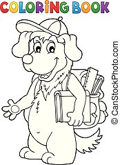 Coloring book school dog theme 1