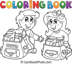 Coloring book school kids