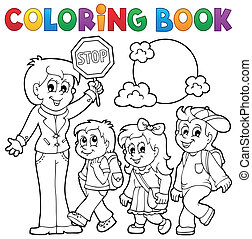 Coloring book school kids theme 1