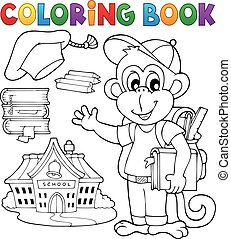 Coloring book school monkey theme 1 - eps10 vector...
