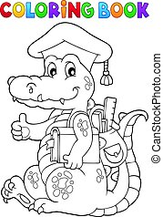 Coloring book school theme crocodile - eps10 vector...