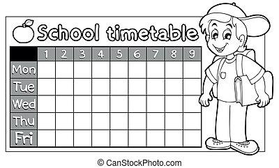 Coloring book school timetable 9 - eps10 vector...