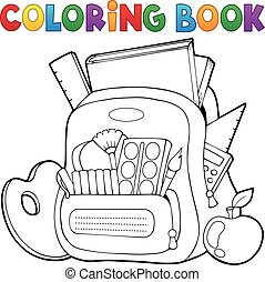 Coloring book schoolbag theme 1 - eps10 vector illustration.