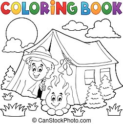 Coloring book scout camping in tent - eps10 vector ...