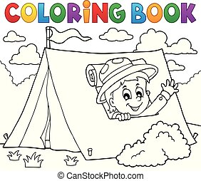 Coloring book scout in tent theme 1