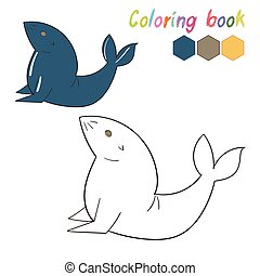 Coloring book seal kids layout for game