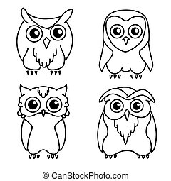 Coloring book: set of 4 cute owls