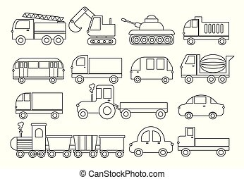Coloring book. Set of transport. Car, bus, train, fire truck, concrete mixer, dump truck, truck, train, tractor, excavator and etc. Vector illustration.