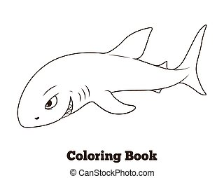 Coloring Book Shark Cartoon Educational