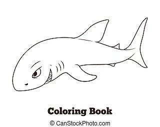 Coloring book shark cartoon educational