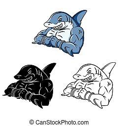 Coloring book Shark Strong caracter