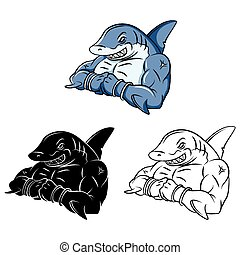 Coloring book Shark Strong cartoon character - vector illustration .EPS10