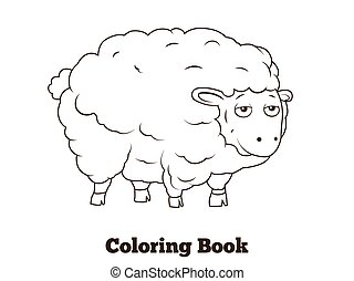 Coloring book sheep cartoon educational