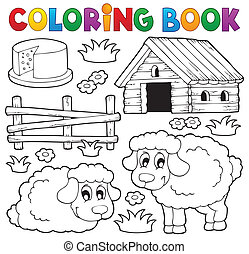 Coloring book sheep theme 1
